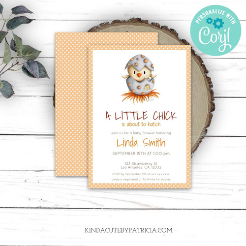 Editable Little chick neutral baby shower invitation. Printable file.