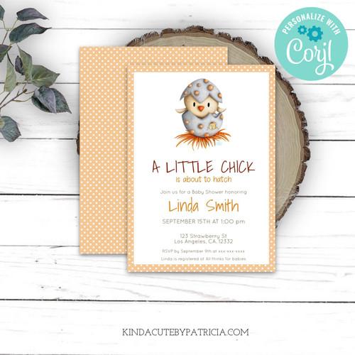 Editable Little chick neutral baby shower invitation. Printable file.