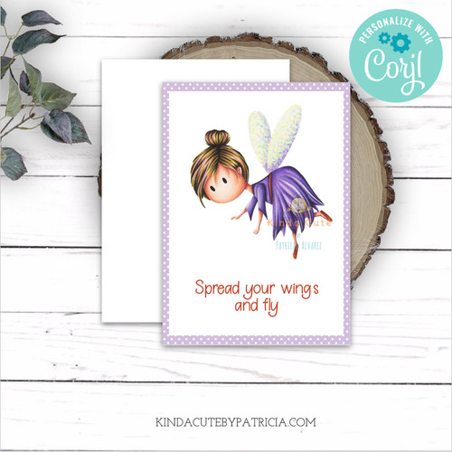 Editable printable encouragement card with a fairy in a purple dress.