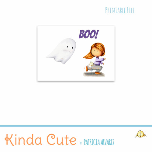 Boo! Halloween card with a girl running from a ghost.