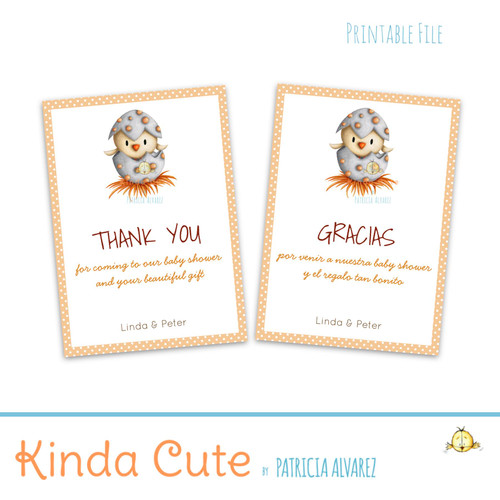 Gender Neutral Baby Shower Personalized Thank You Card. English or Spanish. Printable File
