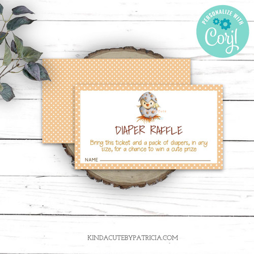Editable diaper raffle ticket for baby shower.