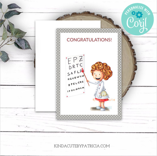 Cute graduation card with an eye doctor.
