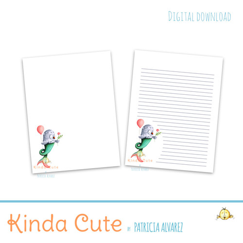 Mer-owl with balloon printable stationery. Blank and lined paper.