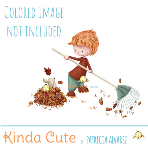 Boy digital stamp. Boy raking leaves.
