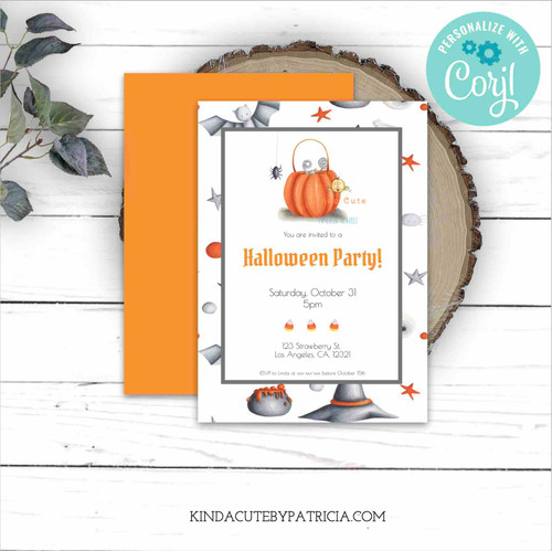 Editable Halloween party invitation with pumpkin treat bag