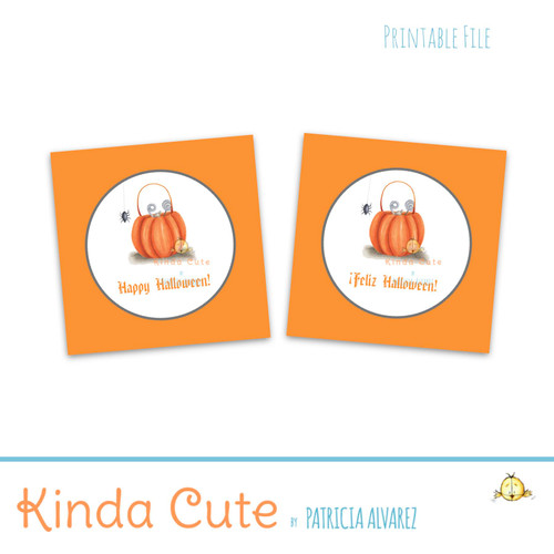 Bilingual happy halloween printable tags or stickers