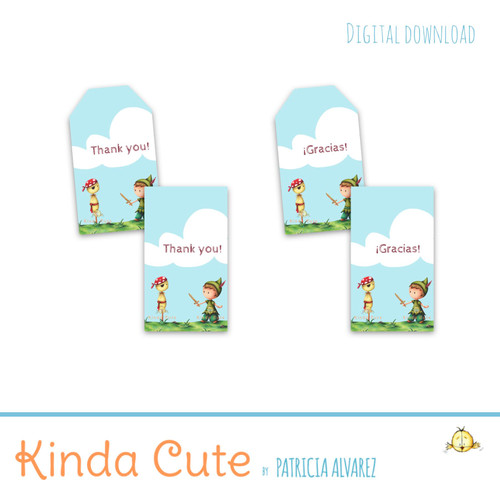 Peter Pan printable thank you tags. Bilingual.