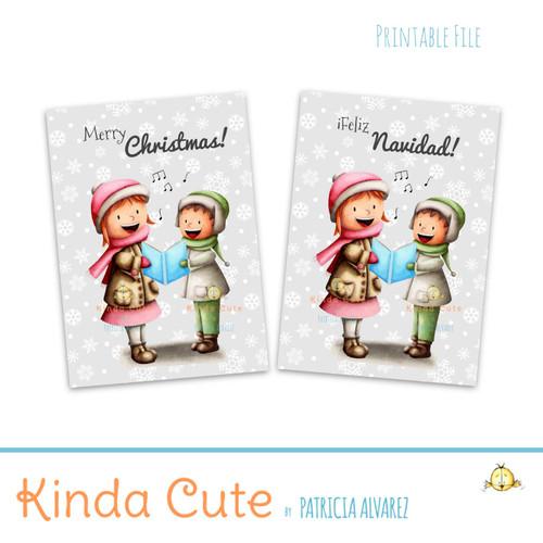 Kids singing carols christmas printable card in english and spanish