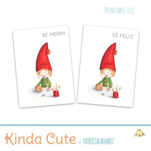Elf making toys printable Christmas card.