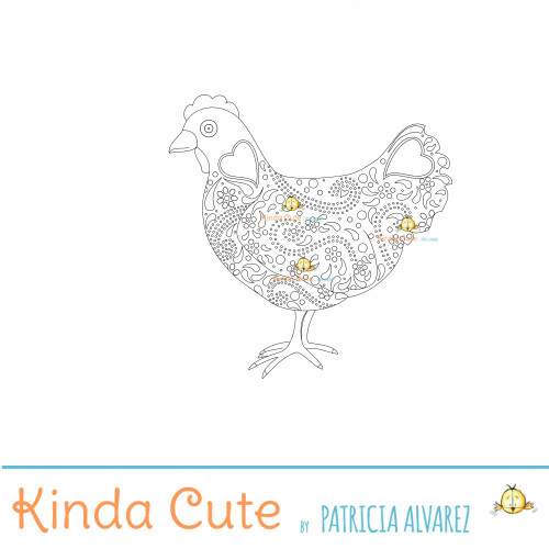 Hen Digital Stamp - Coloring page