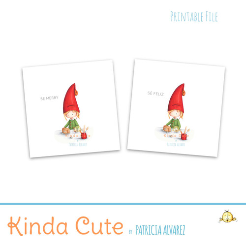 Christmas elf working favor tags. Printable Christmas Stickers.