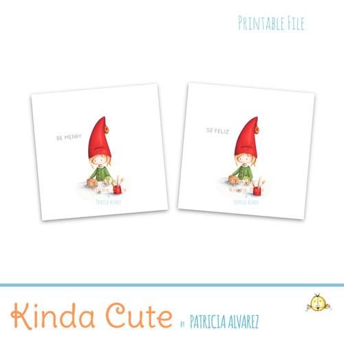Christmas elf working favor tags. Printable Christmas Stickers.