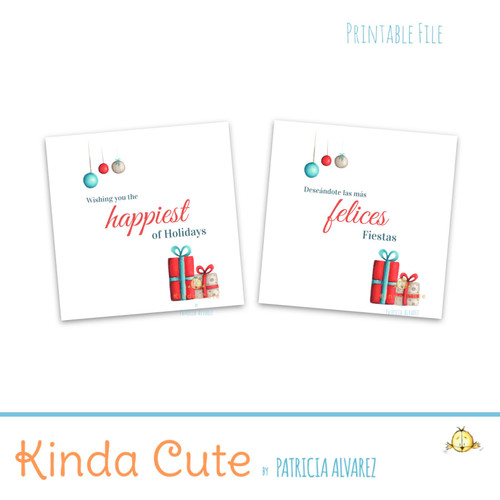Happiest of holidays red and teal printable stickers.