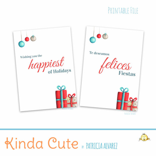 Teal and red happiest of Holidays printable card. Bilingual