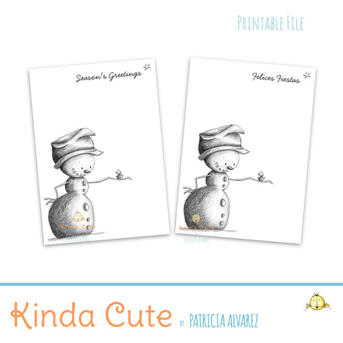 Black and white snowman Christmas printable card
