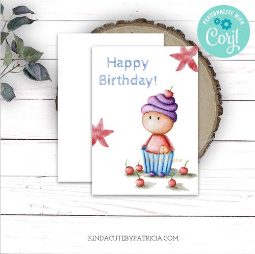 Girl with a cherry on top printable card.