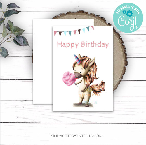 Cute Unicorn Birthday Card Printable File Editable Birthday Card Unicorn Eating Pink Cotton Candy Adorable Card For Kids Unicorn Lover Card