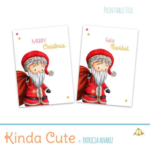 Merry Christmas minimalist Santa Claus bilingual printable card