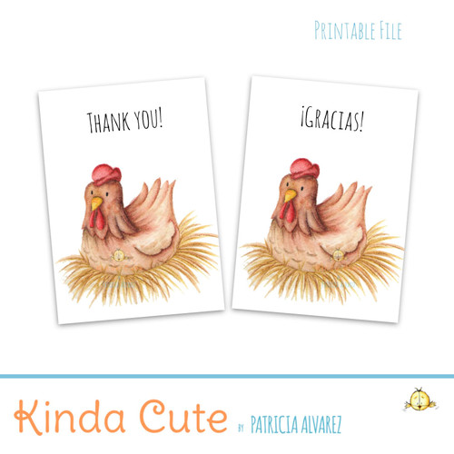 Thank you printable card with a hen. Bilingual