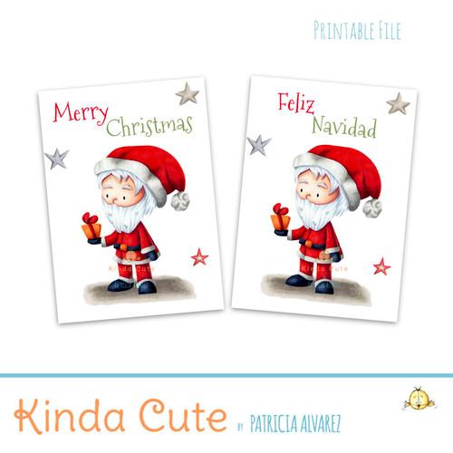 Bilingual printable card for Christmas