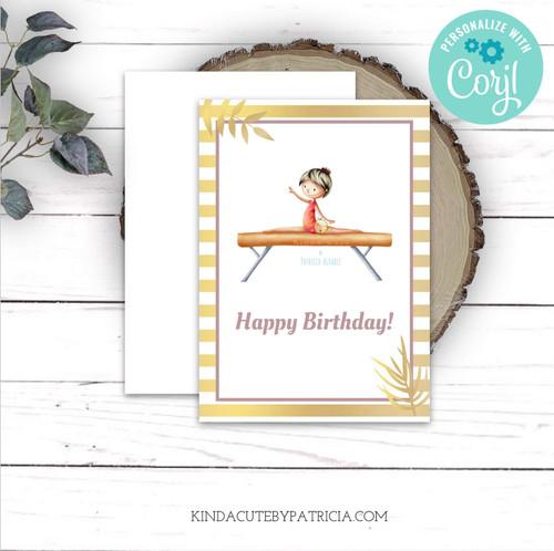 Girl on beam happy birthday card.