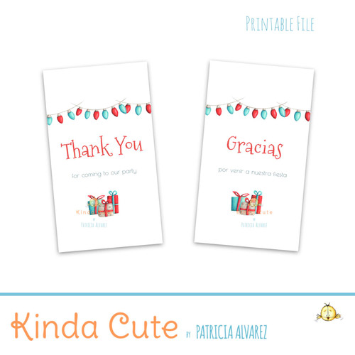 Teal and red Christmas thank you tags. Bilingual.
