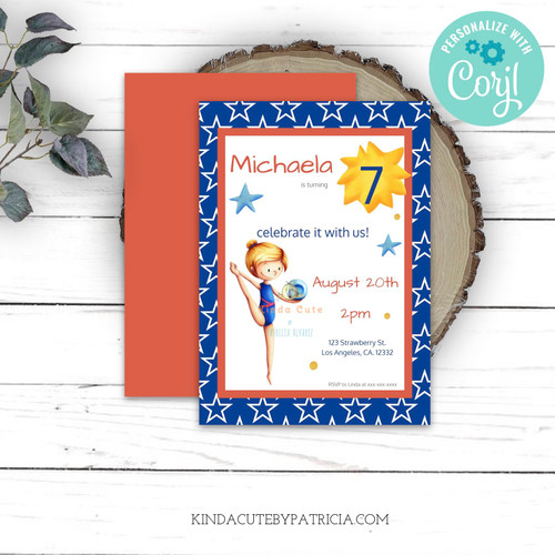 Editable gymnast birthday invitation