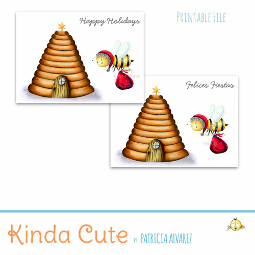 Happy Holidays card with a Santa bee. Printable file.