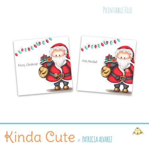 Christmas Santa Claus red and teal printable stickers