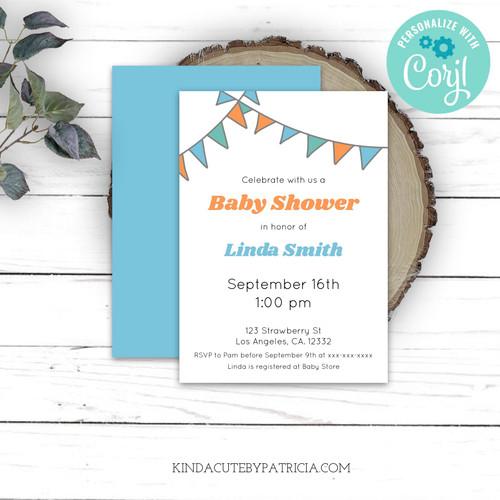 Minimalist editable baby shower invitation.