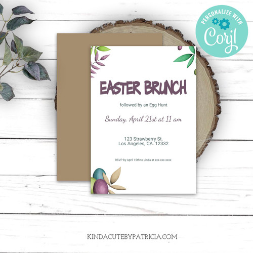 Editable Easter brunch invitation. Printable file.