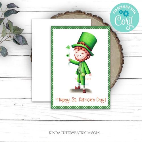 Editable leprechaun printable card.