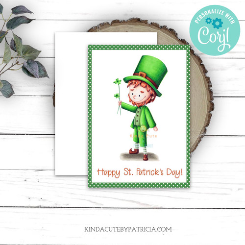 Editable leprechaun printable card.