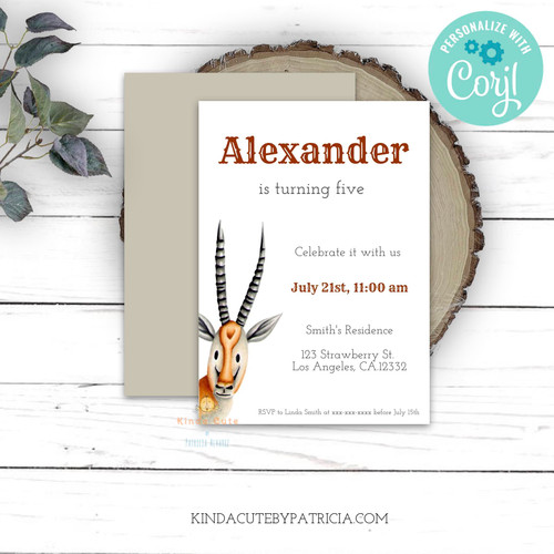 Minimalist birthday invitation with an antelope. Printable file.