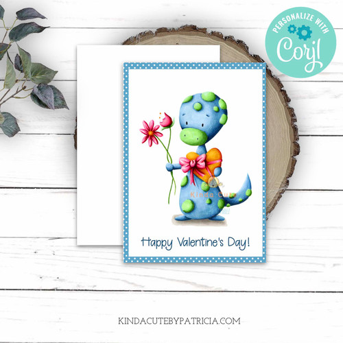 Valentines printable card with a lizard. Editable Valentine's  card