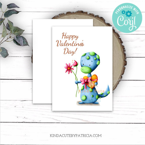 Happy Valentine's day printable card with a lizard. Editable file.