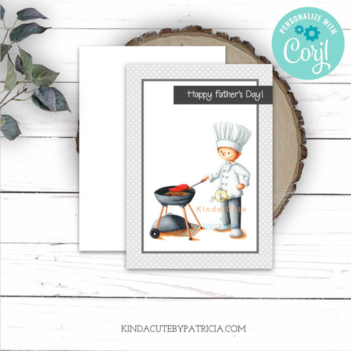 Happy father's day card with a man doing barbecue in a chef suit. Editable printable card