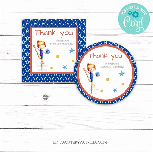 Thank you tags for a gymnastics birthday theme