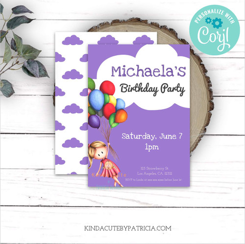 Birthday invitation for girls. Girl flying with balloons. Printable file.