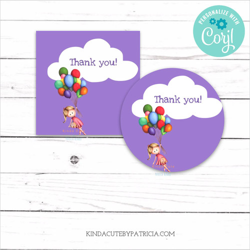 Purple thank you tags with a girl and balloons.
