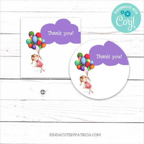 Editable purple and white thank you tags with a girl and balloons.