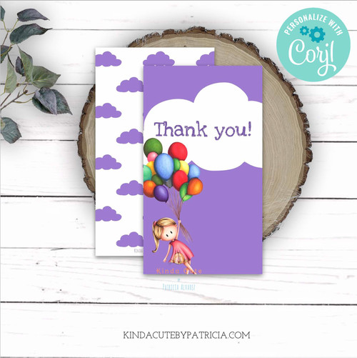 Editable purple and white thank you tags with a girl and balloons. Printable file