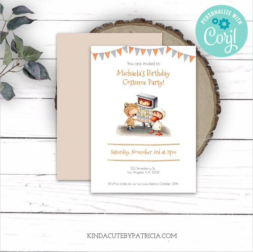 Costume party birthday invitation. Editable printable file.