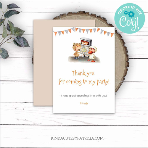 Editable Birthday Costume Party Thank you Card. Printable file.