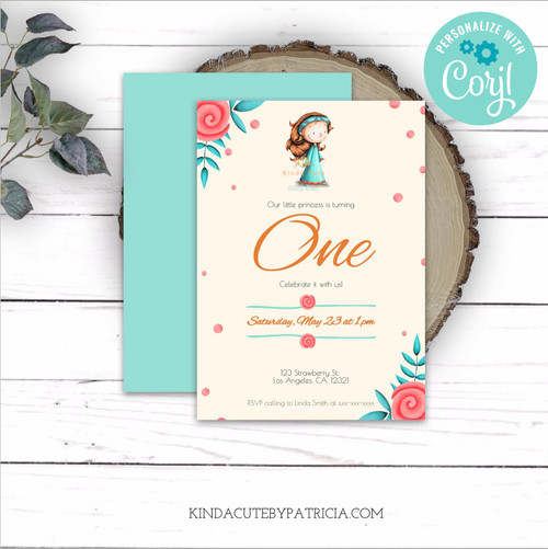 Little Princess First Birthday Invitation. Editable file.