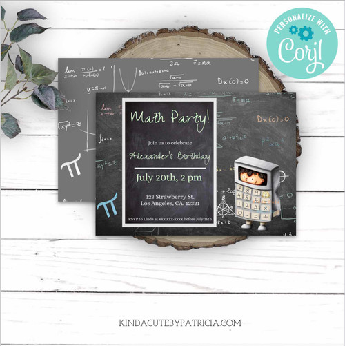 Editable Math Birthday Invitation with a Calculator Boy. Printable File.