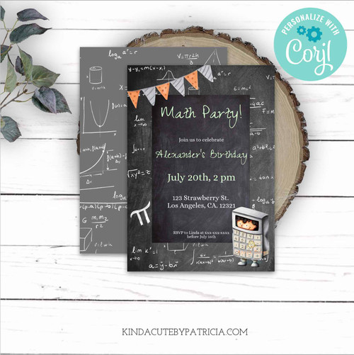 Math formulas and equations Birthday Invitation. Printable File.
