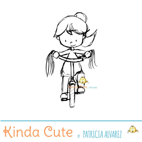 Girl biking sketch digital stamp
