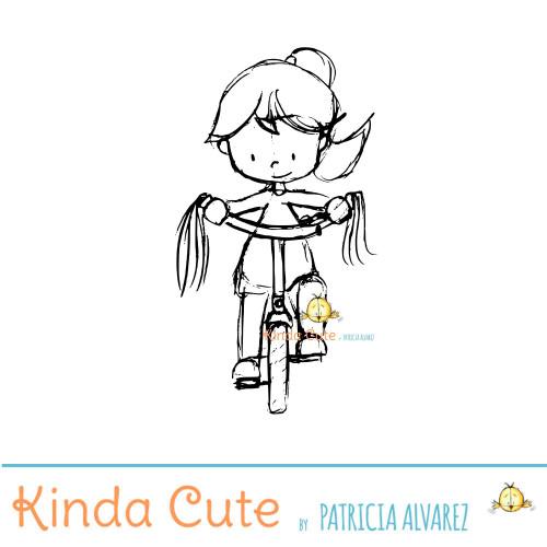 Girl biking sketch digital stamp